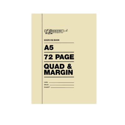 EXERCISE BOOK A5 72 PG QUAD AND MARGIN