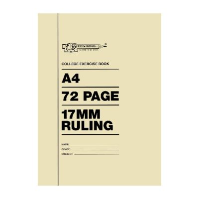 EXERCISE BOOK A4 72 PG 17 MM AND MARGIN