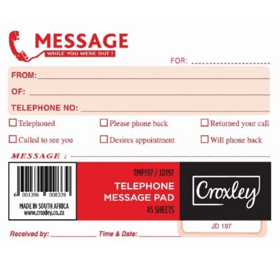 TELEPHONE MESSAGE PAD @ (Available On Order Only)