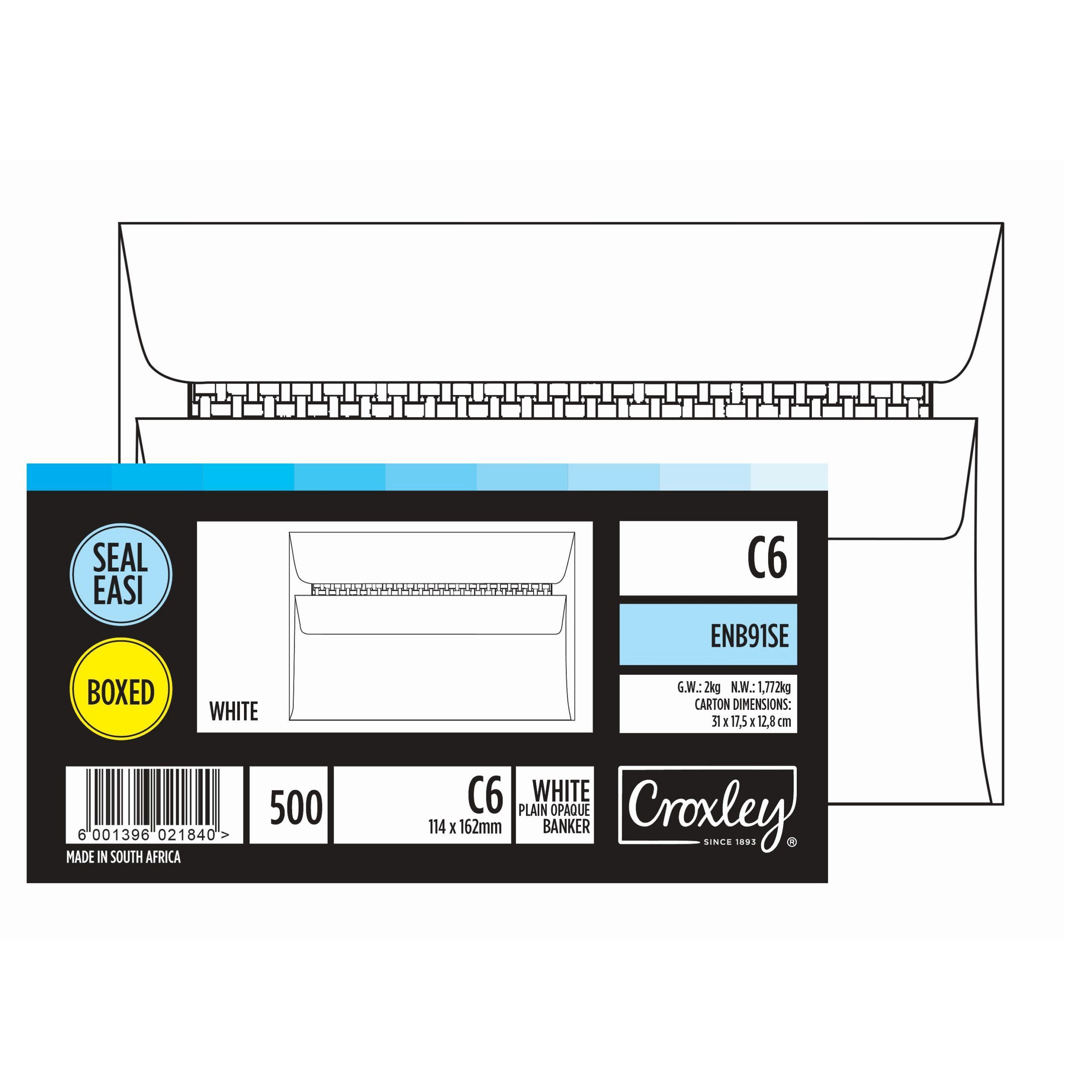 ENVELOPE C6 PLAIN WHITE BOX OF 500