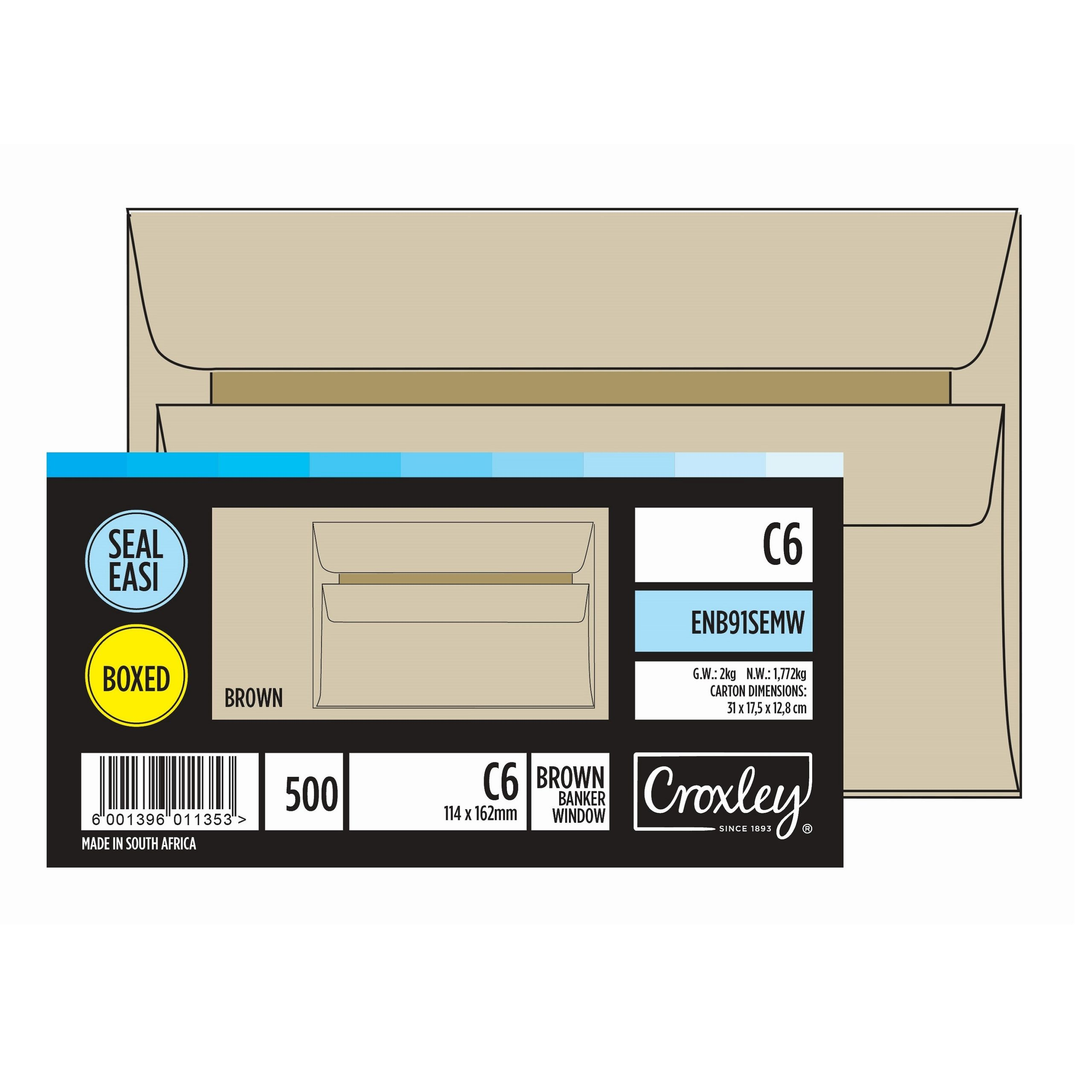 ENV C6 WINDOW BROWN BOX OF 500