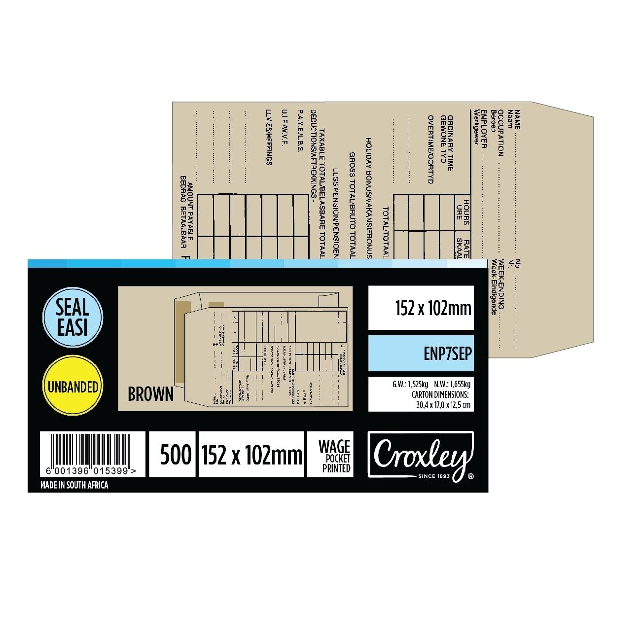 ENVELOPE WAGE POCKET PRINTED BOX OF 500