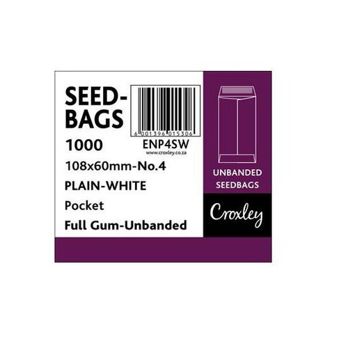 ENVELOPE SEEDBAG WHITE NO.4 BOX OF 1000 @ (Available On Order Only)