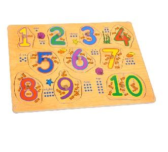 PUZZLE: EDU PUSH IN BOARD WOODEN 1 - 10