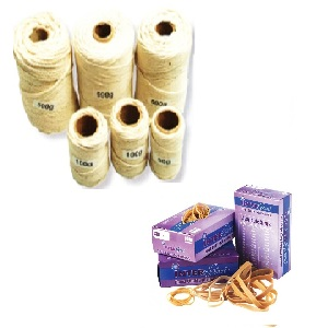 RUBBER BANDS AND TWINE