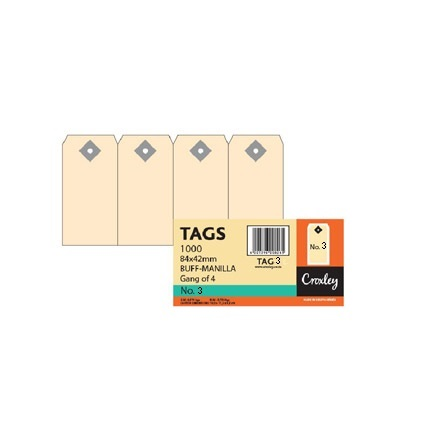 TAG NO.3 95 X 48 BOX OF 100 BUFF (Available Only On Order)