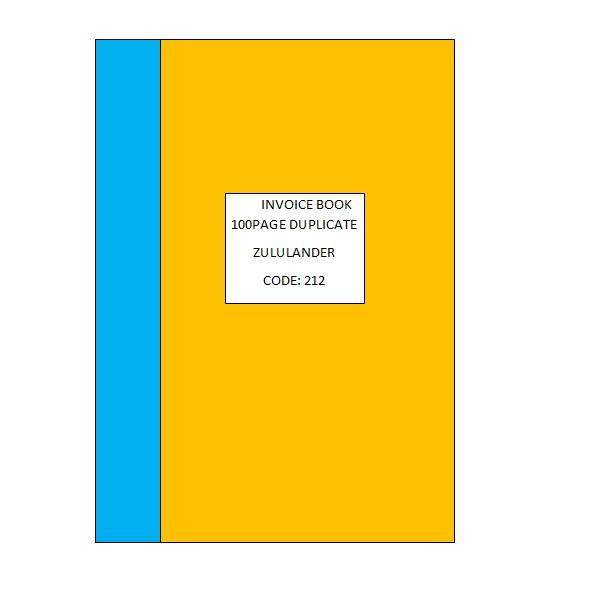INVOICE BOOK 100PG DUP ZULULANDER