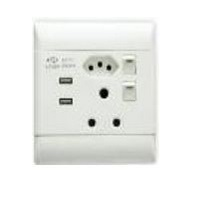 SWITCH WALL DOUBLE 16A + 2USB