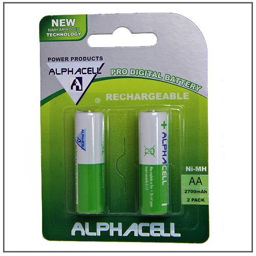 BATTERY RECHARGEABLE AA ALPHA 2PC
