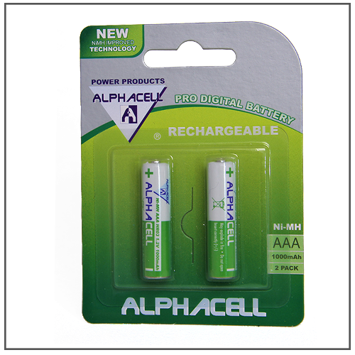 BATTERY RECHARGEABLE AAA ALPHA 2PC
