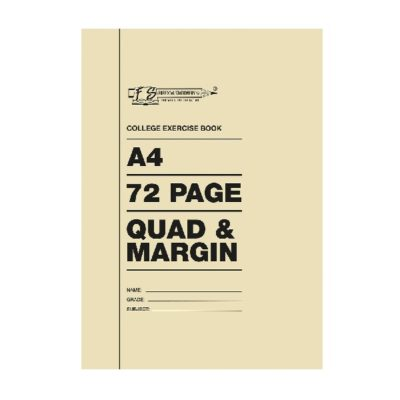 EXERCISE BOOK A4 72 PG QUAD AND MARGIN
