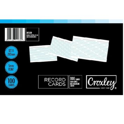 RECORD CARDS 203 X 125MM