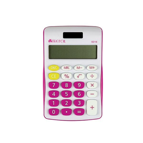 CALCULATOR TREFOIL 5016 8 DIGIT SCHOOL PINK