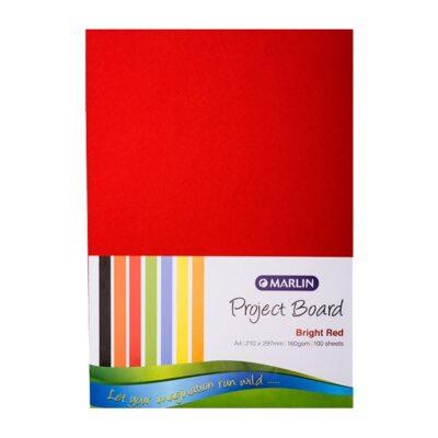 PROJECT BOARD A4 BRIGHT RED 100PK