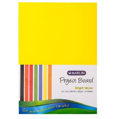 PROJECT BOARD BRIGHT YELLOW A4 10PK