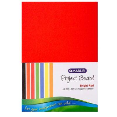 PROJECT BOARD BRIGHT RED A4 10PK
