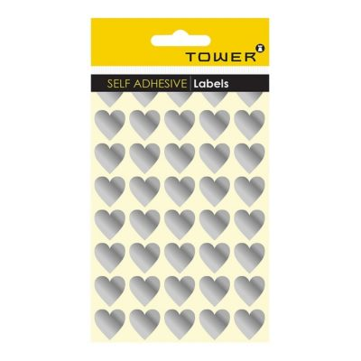 HEART STICKERS SILVER (160 STICKERS)
