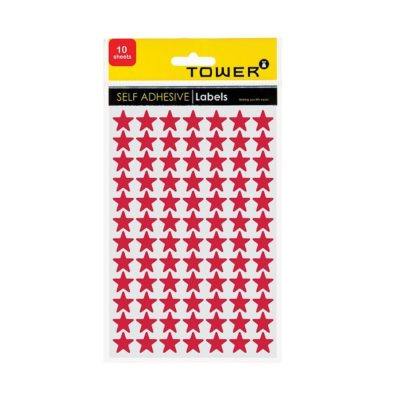 TOWER STAR LABELS FLUORESCENT PINK (168 STICKERS)