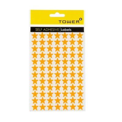 TOWER STAR LABELS FLUORESCENT RED (168 STICKERS)