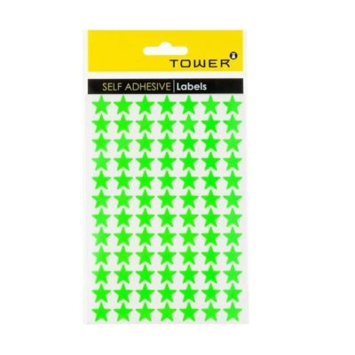 TOWER STAR LABELS FLUORESCENT GREEN (168 STICKERS)