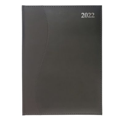 DIARY A4 S-STITCH SOFT TOUCH 2022 CHARCOAL