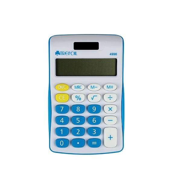 CALCULATOR TREFOIL 4996 8 DIGIT SCHOOL BLUE